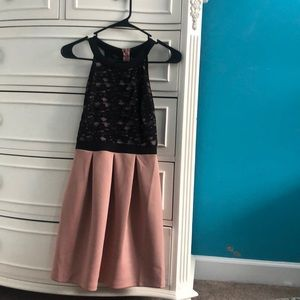 Pink and black fit and flare dress